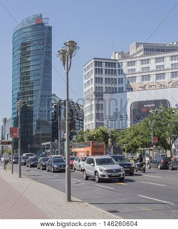 BERLIN GERMANY - AUGUST 25 2016: Traffic At Potsdamer Platz Berlin Germany
