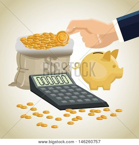 Bag calculator piggy and coins icon. Money economy commerce and market theme. Isolated design. Vector illustration