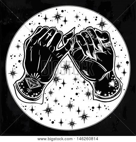Pinky promise, hand holding on the starry background. Hands are tattooed. Ghetto and gothic style inspired. Vector illustration isolated. Minimalist tattoo design, trendy friendship symbol.