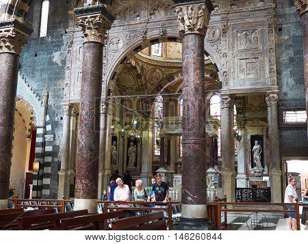 San Lorenzo Cathedral Of Genova. Liguria, Italy.