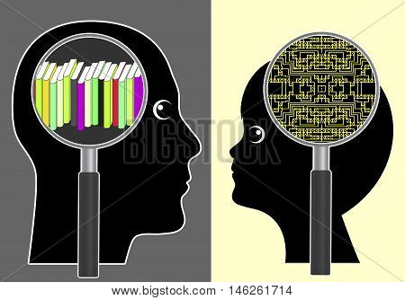 Analog versus digital brain. Traditional learning with books or implanted memory chip as futuristic vision