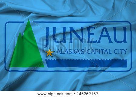 Waving Flag of Juneau Alaska USA, with beautiful satin background. 3D illustration