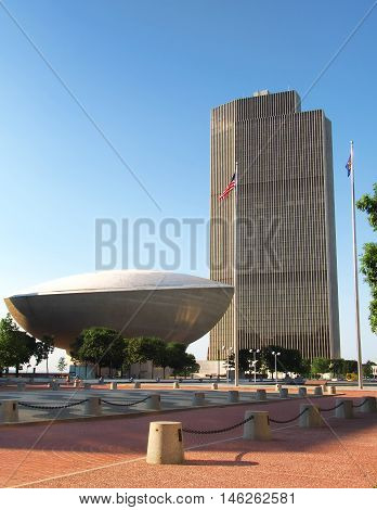 Albany New York USA. September 42016. Erastus Corning II Tower and The Egg Empire state Plaza Albany New York