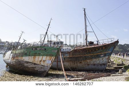 Camaret-Sur-Mer France - August 19 2016: View of Shipwrecks in Camaret-Sur-Mer Brittany France