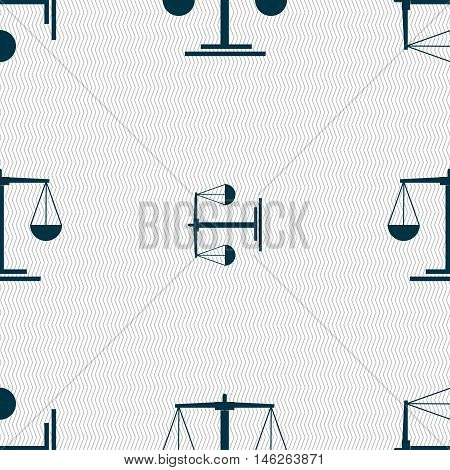 Scales Icon Sign. Seamless Pattern With Geometric Texture. Vector
