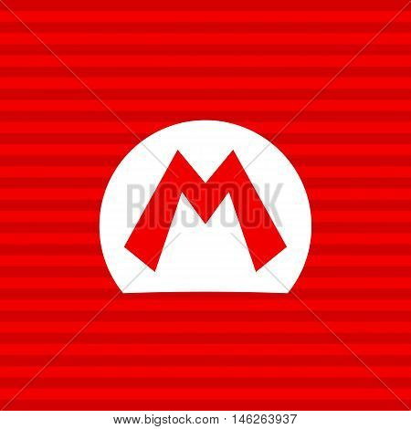 M symbol on a red background with a white frame