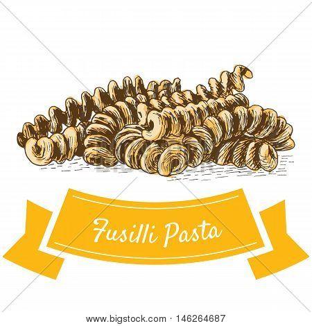 Fusilli pasta colorful illustration. Vector illustration of Fusilli pasta.