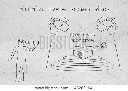 confidential prototype on stage & person spying with binoculars concept of trade secrets and industrial espionage threats
