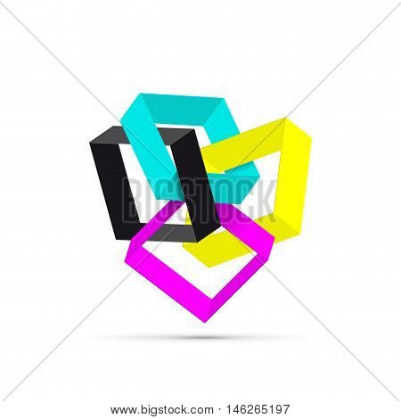 Vector abstract shape 3d CMYK for printer