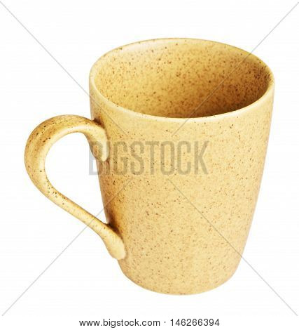 original yellow coffee mug, isolated on white background