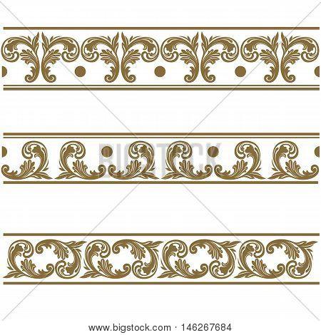 Golden vintage pattern, damask pattern, ornamental pattern, decor pattern, golden lace, damask lace, ornamental lace, pattern lace, decor lace. Vector.