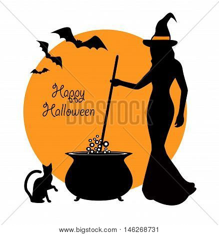 beautiful witch prevents potion in a cauldron. Sitting next to a witch and black cat flying bats