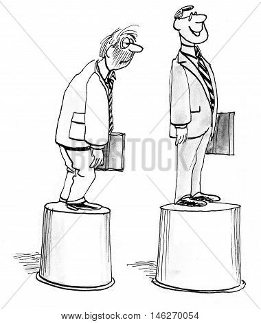 B&W, full body, business illustration showing a slumping businessman and a proud, smiling businessman.