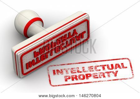 Intellectual property. Seal and imprint. Red seal and imprint
