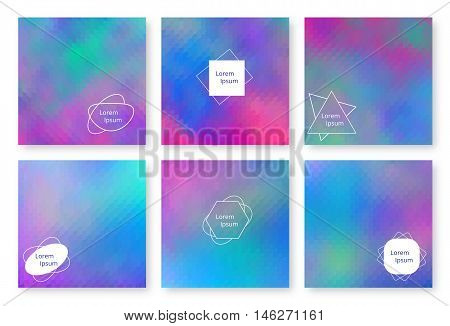 Set holographic backgrounds. Bright backdrop for banners brochures flyers postcards invitations booklets. Multicolor template. Colorful wallpaper with gradient. Vector illustration.