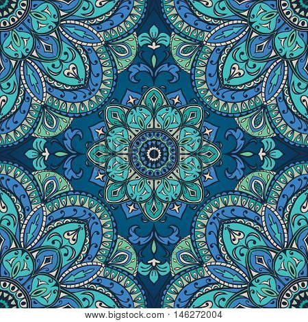 Blue ornament of mandala. Template for carpet shawl textile fabric wallpaper. Oriental seamless ornament.