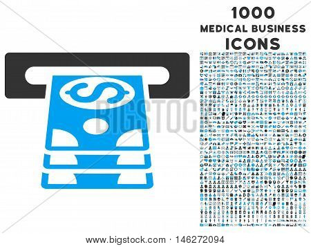 Bank Cashpoint vector bicolor icon with 1000 medical business icons. Set style is flat pictograms blue and gray colors white background.