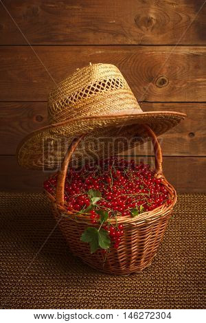 Redcurrant berries in basket and straw hat on a wooden background