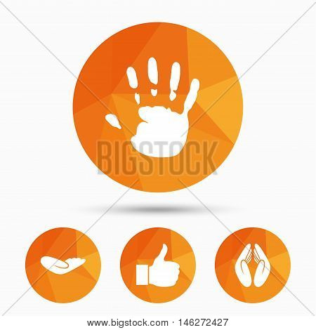 Hand icons. Like thumb up symbol. Insurance protection sign. Human helping donation hand. Prayer hands. Triangular low poly buttons with shadow. Vector