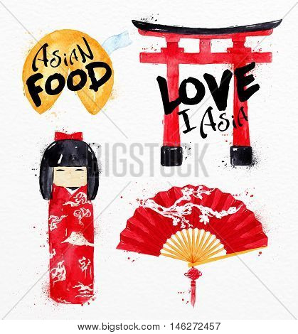 Asia symbols fortune cookies kokeshi doll gate asia fan drawing with drops and splash on watercolor paper background