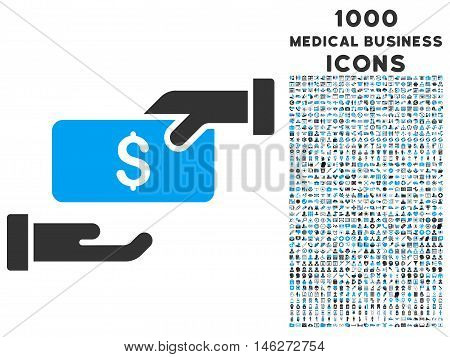 Bribe vector bicolor icon with 1000 medical business icons. Set style is flat pictograms blue and gray colors white background.