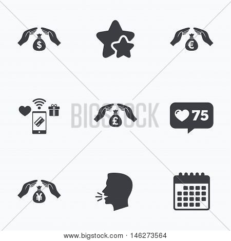 Hands insurance icons. Money bag savings insurance symbols. Hands protect cash. Currency in dollars, yen, pounds and euro signs. Flat talking head, calendar icons. Stars, like counter icons. Vector