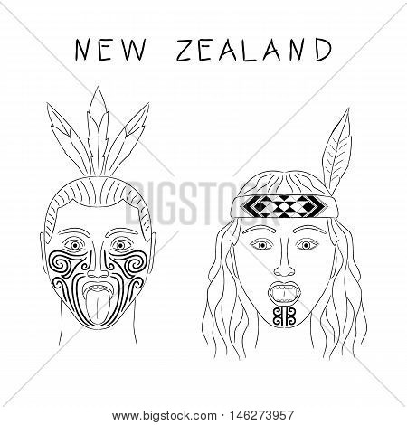 New Zealand Maori tribe a man and a woman. Traditional tattoo ta moko and hats feathers. Militant grmasy on their faces. Vector isolated cartoon illustration. Black contour.