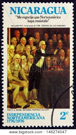 NICARAGUA - CIRCA 1975: a stamp printed in Nicaragua shows Pit Addressing Parliament Painting by K. A. Hickel American Bicentennial circa 1975