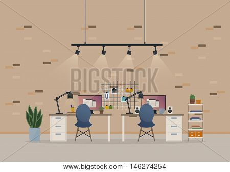 Office open space cabinet or basement work room with furniture like chairs and table, monitor with report windows and loudspeakers, stickers on brick wall and books with vase on rack, lamps and cup.