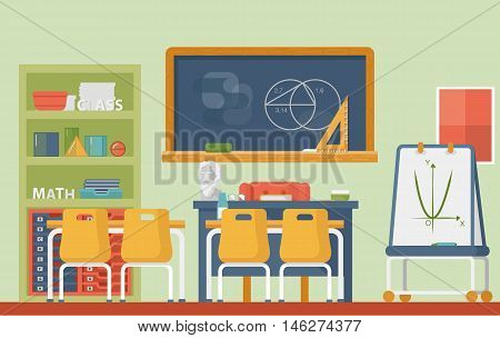 Mathematic, geometry school classroom interior. Lesson of euclid or axiomatic, practical geometry with circles and sphere, cylinder and blackboard with chalk, plato and archimedes bust.