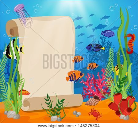 Marine life composition with white sheet for text and fish crabs algae and underwater world around vector illustration