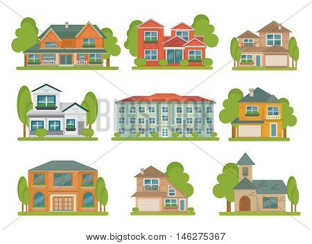 Isolated colored different types of buildings flat icon set with green areas around vector illustration