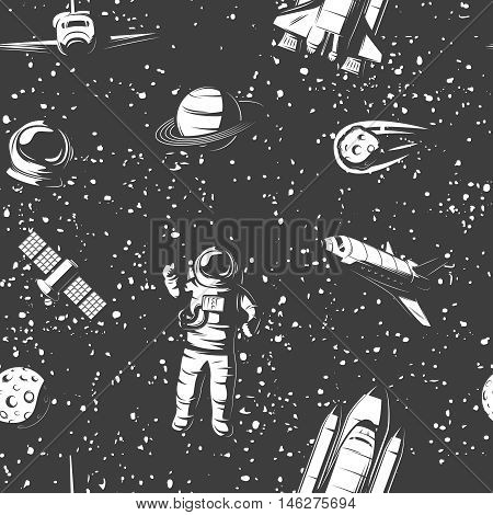 Space monochrome seamless pattern with astronaut cosmic objects manned ships satellite on starry sky background vector illustration