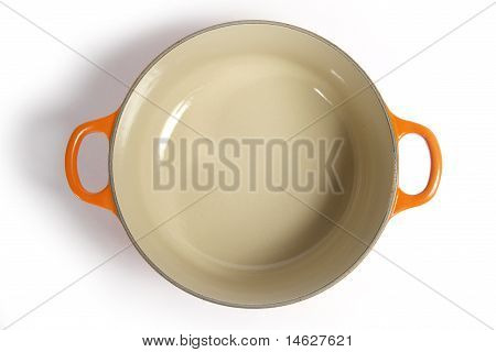 Cast iron cooking pot.