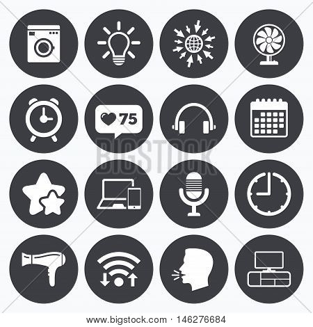 Calendar, wifi and clock symbols. Like counter, stars symbols. Home appliances, device icons. Ventilator sign. Hairdryer, washing machine and lamp symbols. Talking head, go to web symbols. Vector