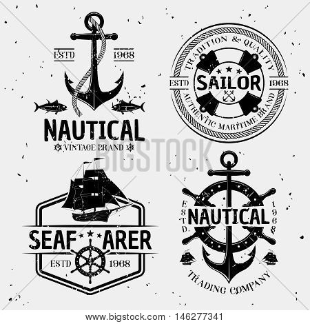 Nautical monochrome logos with marine symbols and letterings on white background with tiny stains isolated vector illustration
