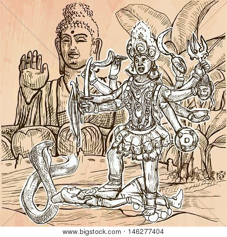 KALI. Hindu Goddess posing with her victim in front of big Buddha statue. Freehand sketching line drawing. An hand drawn vector illustration. Line art technique.