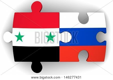 Cooperation between Russia and Syria. Puzzles with flags of the Russian Federation and Syria on a white surface. The concept of coincidence of interests in geopolitics. Isolated. 3D Illustration