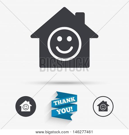 Comedy club. Smile icon. Happy face chat symbol. Flat icons. Buttons with icons. Thank you ribbon. Vector