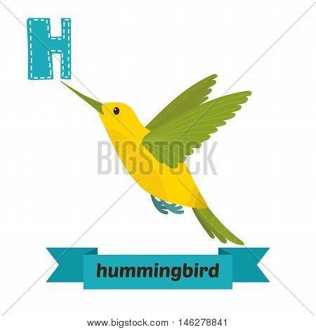Hummingbird. H Letter. Cute Children Animal Alphabet In Vector. Funny Cartoon Animals