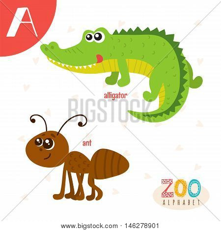 Letter A. Cute Animals. Funny Cartoon Animals In Vector. Abc Book