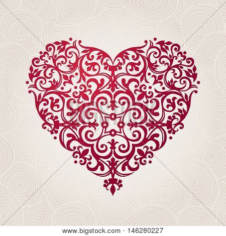 Ornate Vector Heart In Victorian Style.