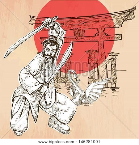 An Japan warrior with the swords Shinto sign and white paper origami swan. Freehand sketching line drawing. An hand drawn vector illustration. Line art technique.