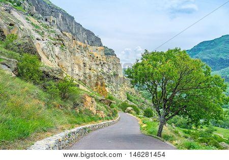 The tourist road to Vardzia monastic archaeological site located on Erusheti mounain Samtskhe-Javakheti Region Georgia.