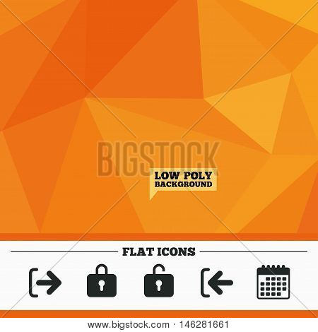 Triangular low poly orange background. Login and Logout icons. Sign in or Sign out symbols. Lock icon. Calendar flat icon. Vector