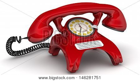 Tariff telephone communications. Concept. Red telephone with clock with symbols of the dollar instead of disk dialer. Isolated. 3D Illustration