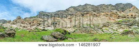 The steep rocky of Erusheti Mount looks pretty impregnable the connection between medieval monastic complex of Vardzia was made with secret passes carved inside of the rock Samtskhe-Javakheti Region Georgia.