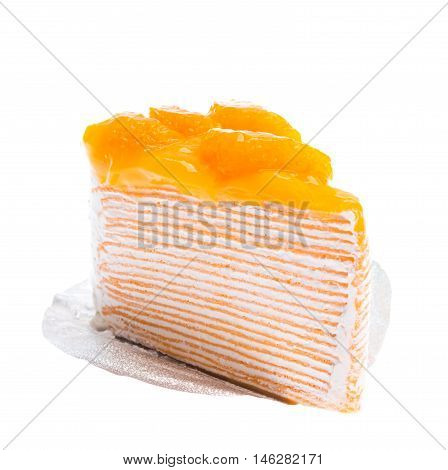 Oranges cake slice fruit cake on white background.