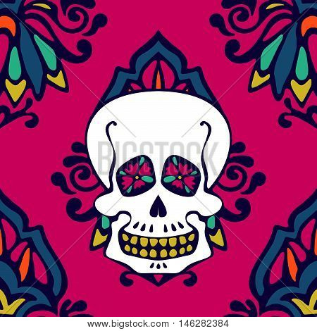 shugar skull damask seamless pattern. halloween background
