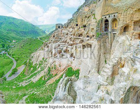 The steep rocky with carved monastic complex of Vardzia Samtskhe-Javakheti Region Georgia.